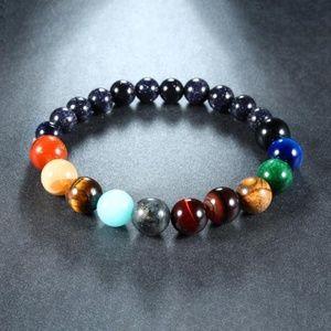 NEW 7 Chakra Beaded Stretch Natural Stone Bracelet